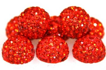 10mm Orange 115 Stone  Pave Crystal Beads- Half Drilled PCBHD10-115-018